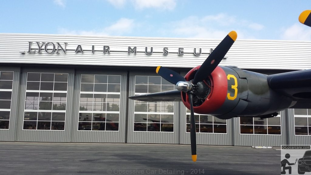 Witchcraft parked at the Lyon Air Museum on a scheduled stop of the Wings of Freedom Tour. - www.ocdcarcare.com