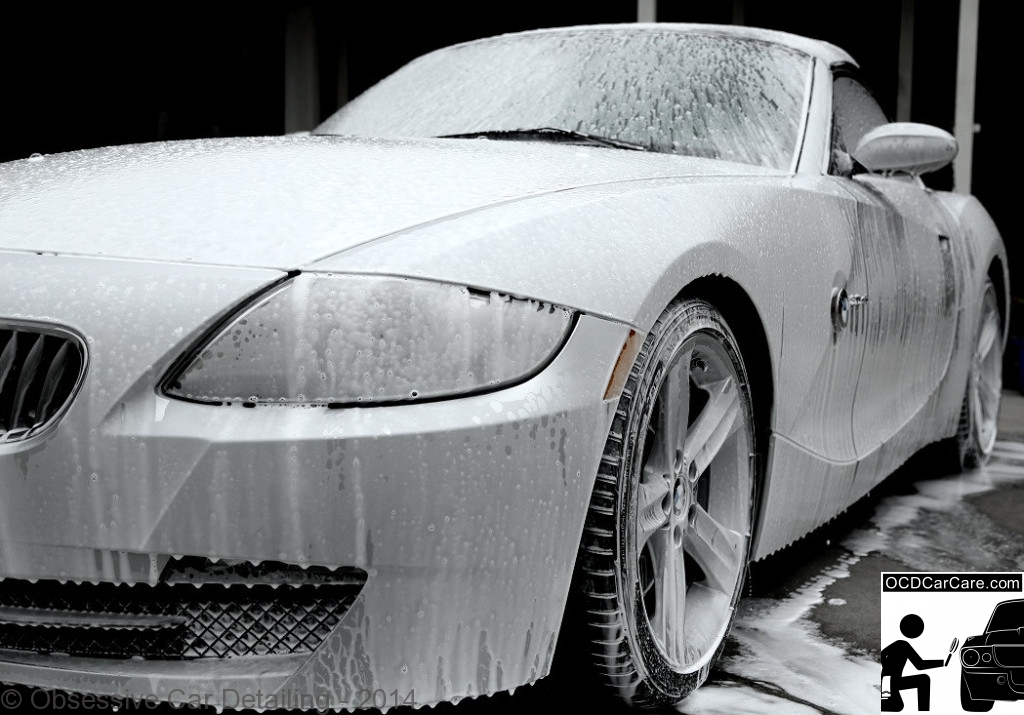 OCDCarCare Los Angeles - BMW Z4 soaked in a foam bath before auto detailing services are performed.