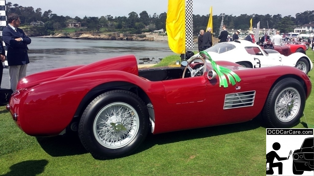 1956 Maserati 150S rests proudly on the lawn at the 2014 Pebble Beach Concours d' Elegance. - Los Angeles Detailer