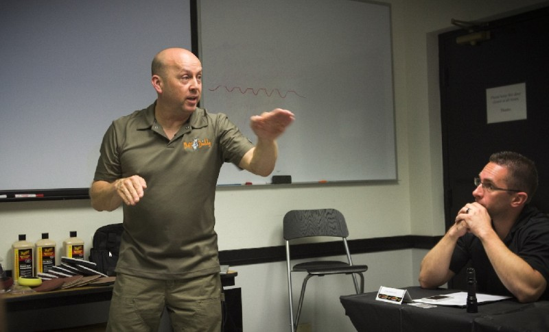 Kevin Brown of www.Buffdaddy.com instructing at NXT Detailing Training Courses 2014.