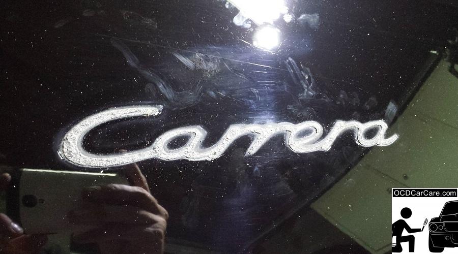 OCDCarCare.com - Detailing Pasadena Ca - 1995 Porsche Carrera - Badge Before - CQuartz FINEST