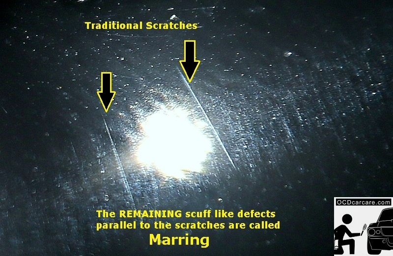 Automotive Paint Correction and Detailing Defects: Marring is an below surface paint defect caused by abrasion.