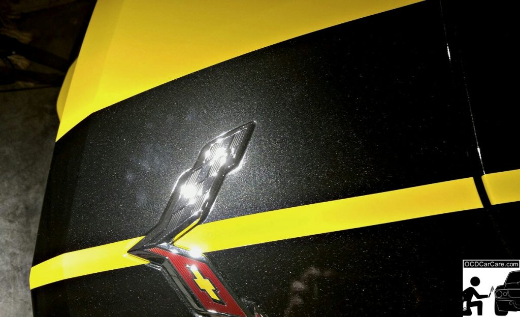 Dealership Installed Defects (Scratching & Marring) on the Vinyl Racing Stripes of this 2016 Corvette C7 Stingray Z51.