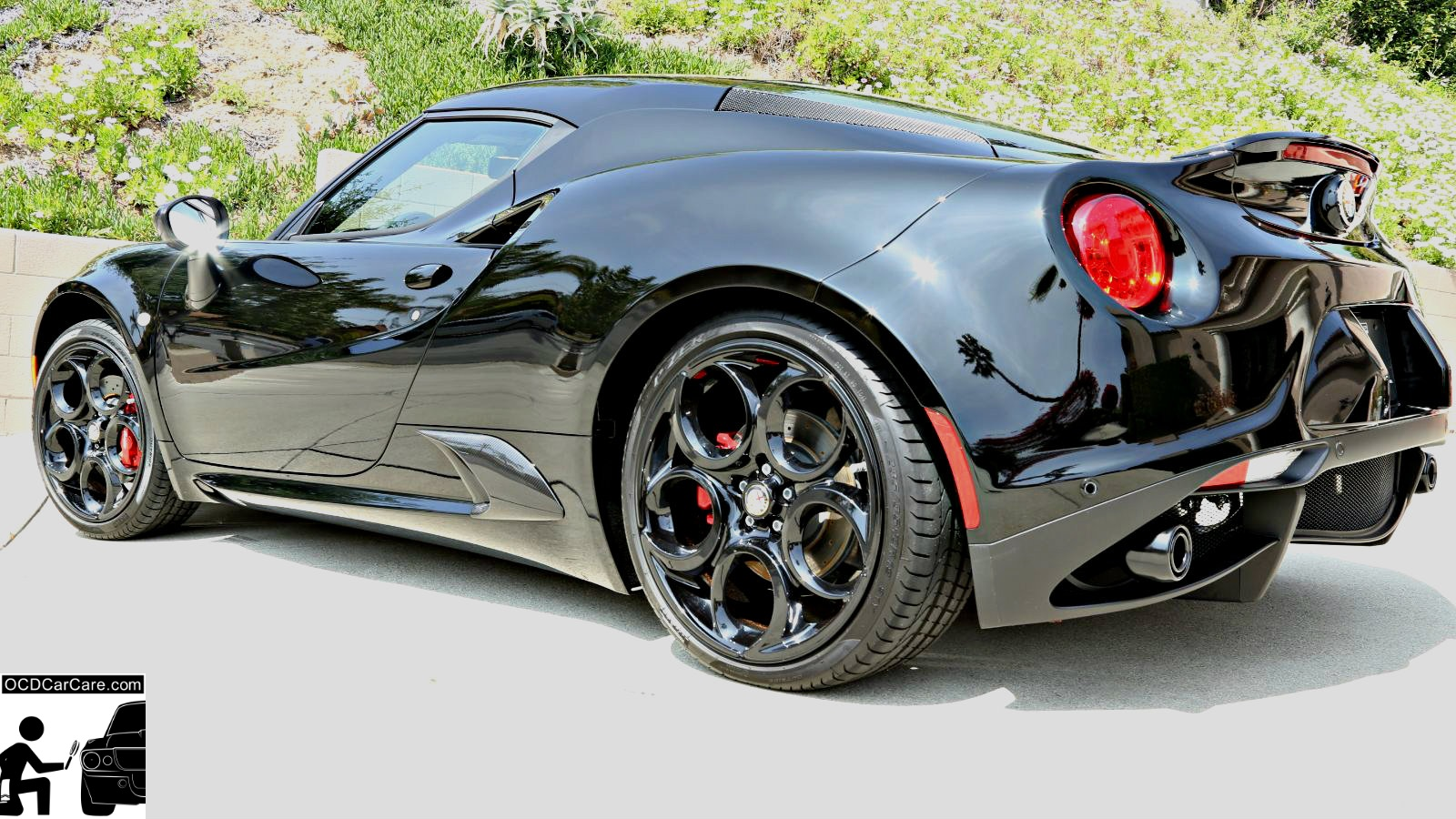 This Alfa Romeo 4C is absolutely blinding as the sun reveals glossy reflective paint after a full paint polishing & ceramic nano coating.