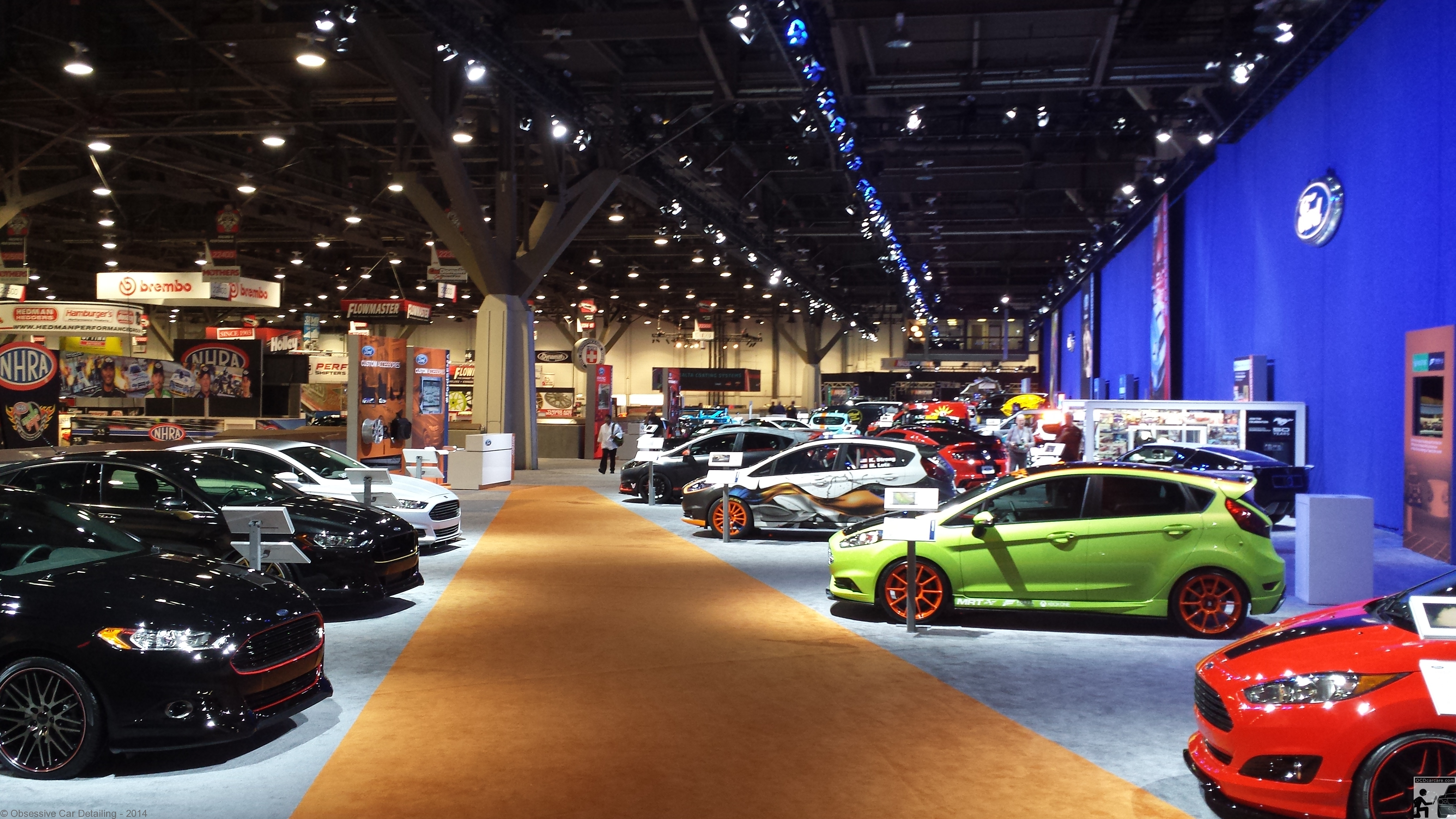 OCDCarCare SEMA 2013 - Ford booth before opening day. Paint Correction and detailing los angeles, ca.- www.ocdcarcare.com