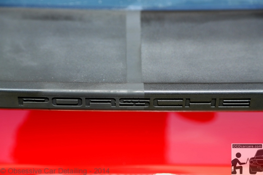 OCDCarCare - Los Angeles, Ca - 1983 Porsche 944 - Before & After (50/50 shot) of rubber spoiler restoration.