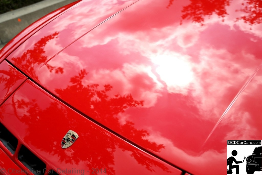 1983 Porsche 944 - Pasadena, Ca - AFTER - hood reflection - clay bar, iron x, two step paint correction, water spot removal, protective paint coating. - www.ocdcarcare.com - (949) 427-1191 - info@ocdcarcare.com