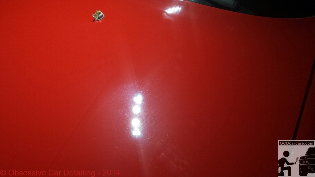 1983 Porsche 944 - Pasadena, Ca BEFORE - Hood - - clay bar, iron x, multi phase paint correction, water spot removal, protective paint coating - www.ocdcarcare.com - (949) 427-1191 - info@ocdcarcare.com