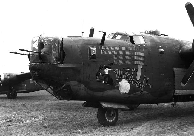 B-24J Bomber Witchcraft - 130th mission pic from 1945