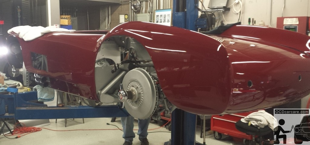The Maserati 150S during reassembly and undercarriage cleaning. Detailer Pasadena, Ca.