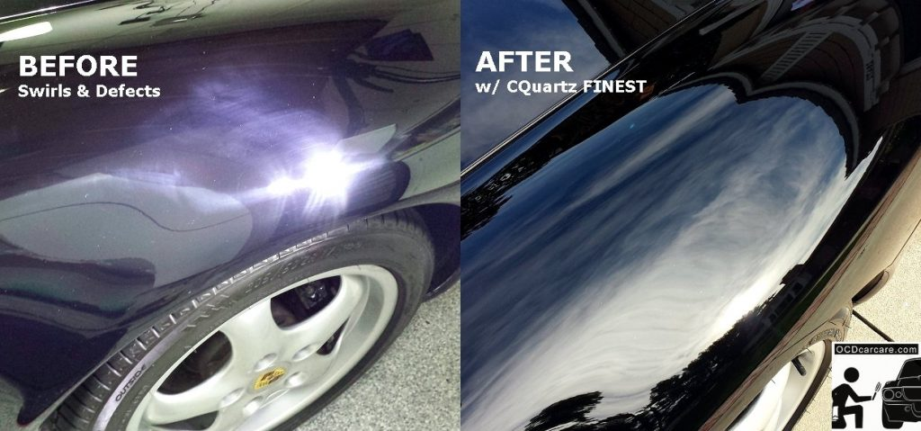 OCDCarCare.com - Detailing Pasadena Ca - 1995 Porsche Carrera - Fender - Paint Defects vs CQuartz FINEST