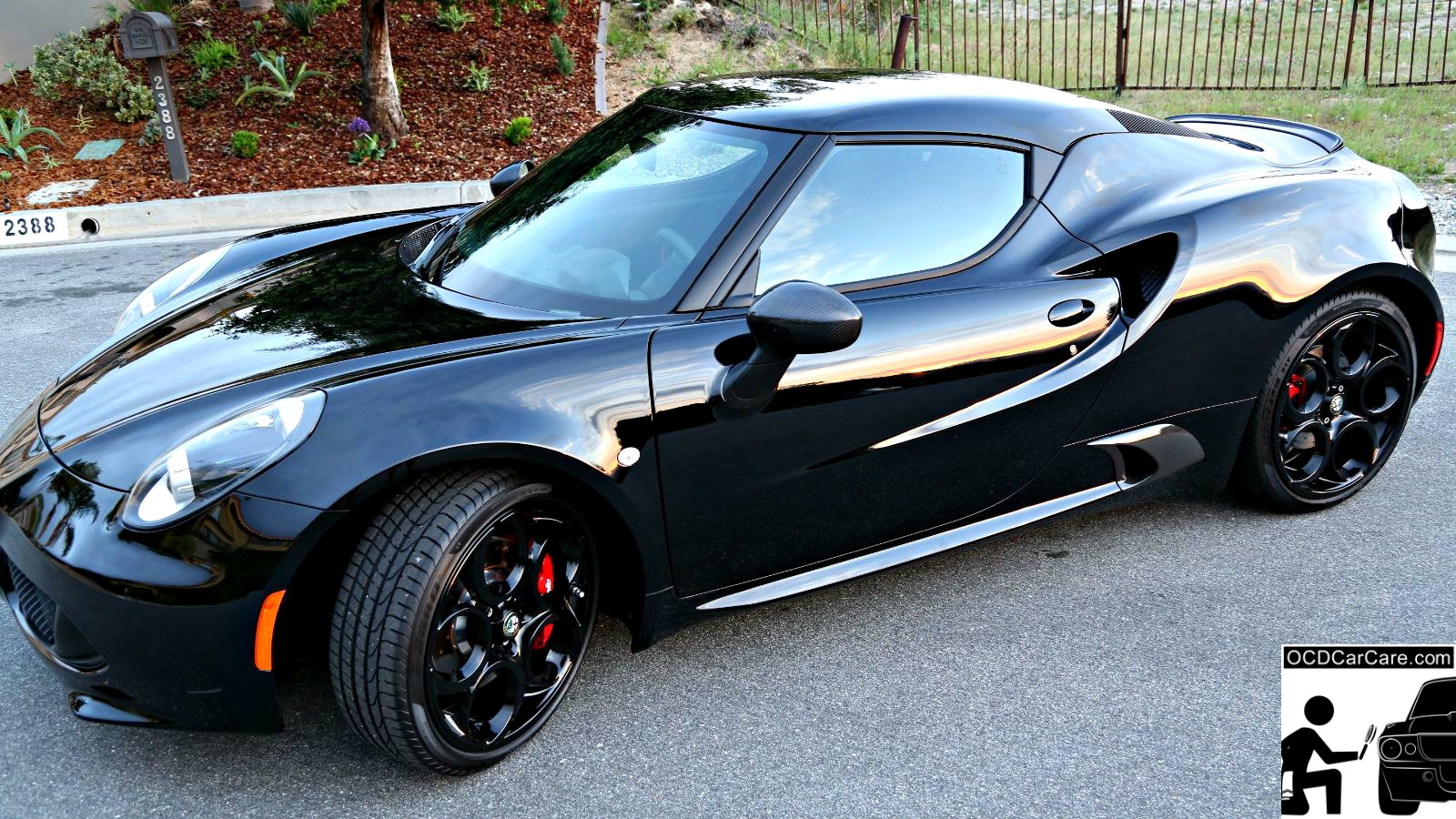 This Alfa Romeo 4C glows at dusk due to OCDCarCare Los Angeles paint correction & Nano Coating.